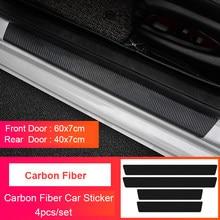 Autocollant de Protection de seuil de porte en cuir, 4 pièces, en Fiber de carbone, pour Mercedes Benz A C E B R classe W203 W205 W204 W212 W211 W213 W210 C200