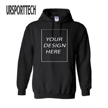 URSPORTTECH Customized With Own Logo Pullover Hoodies Men Adult Printed Thick Sweatshirt Colorful Black Cotton Sweatershirt