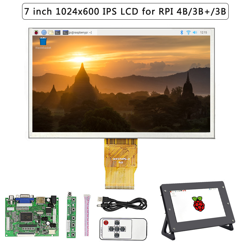 7 Inch Raspberry Pi 4 LCD Display 1024*600 TFT Screen + Acrylic Holder + Drive Board For Raspberry Pi 3 Model B+/B For Orange Pi