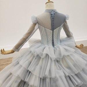 Image 5 - HTL1381 אפור שכבות ערב שמלות למעלה ושרוול עם שקוף חרוז ערב שמלת תחרה עד שמלת ערב בתוספת גודל Sukienki