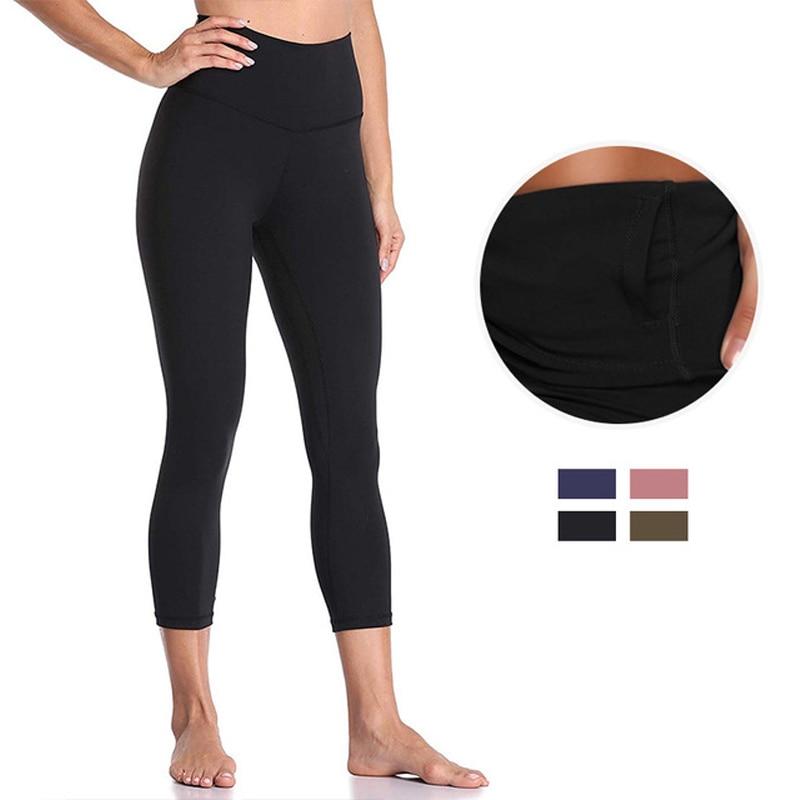 Capri Sport Leggings Women High Waist Short Leggings 3\4 Summer Breeches Activewear Gym Wear Fitness Workout Pants Black Femme