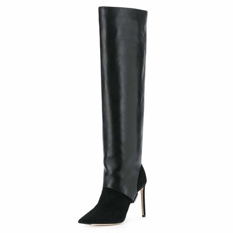 FEDONAS מותג נקבה החורף ארוך מגפי נצנצים בד נשים הברך גבוהה מגפי עקבים גבוהים מועדון לילה נעלי אישה בתוספת גודל מגפיים
