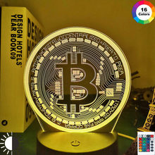 Acrylic Led Night Light Bitcoin for Room Decorative Nightlight Touch Sensor 7 Color Changing Battery Powered Table Night Lamp 3d