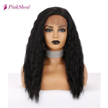 Pinkshow Kinky Curly Wigs For Black Women Black Lace Front Wig Synthetic Lace Front Wig Natural Hairline Heat Resistant Fiber brazilian losse curly synthetic wigs glueless synthetic lace front wig for black women heat resistant lace front wig