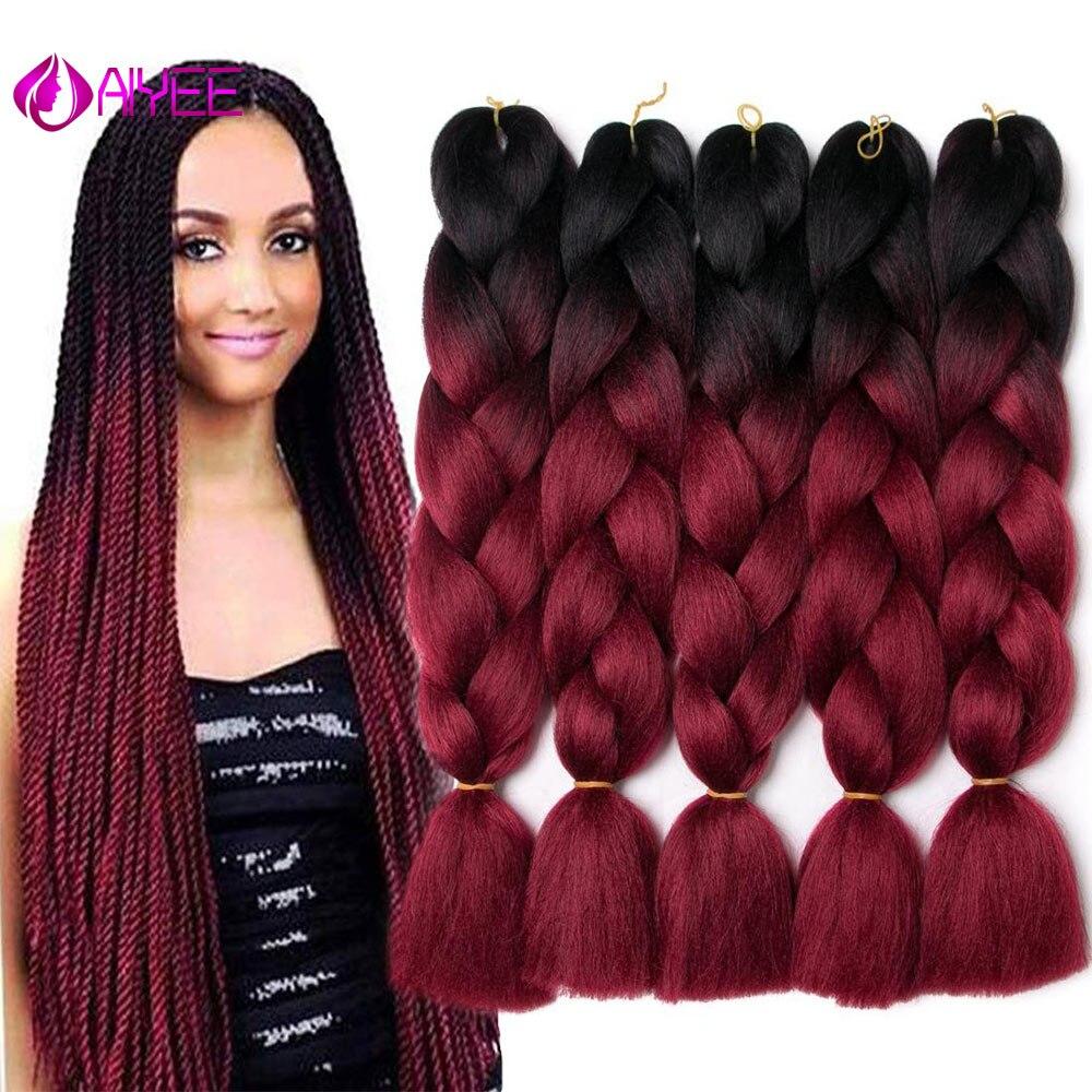 AIYEE 24'' 100g Jumbo Braiding Hair Synthetic Hair, African Crochet Hair, Blue Colored Strands Ombre False Braiding Hair