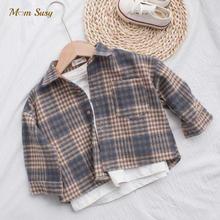 Moda dziewczynka chłopiec koszula w kratę kurtka ciepłe dziecko koszula gruby luźny strój bawełna wiosna jesień dziecko odzież codzienna 2-8Y tanie tanio Bella Philosophy CN (pochodzenie) COTTON Poliester Pełna Pasuje prawda na wymiar weź swój normalny rozmiar Czesankowej