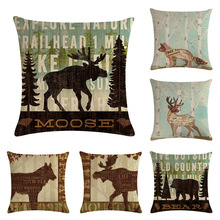 Linen pillowcase sofa cushion set elk series family decorative pillow cushion English letter pillow set 450mmx450mm sofa pillow