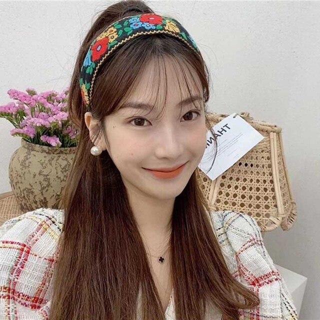 Stickerei Blume Stirnbänder Für Frauen korea Stirnband Nationalen Stil Haar Zubehör Bunte Haarband Kopf Wickeln Haar Band