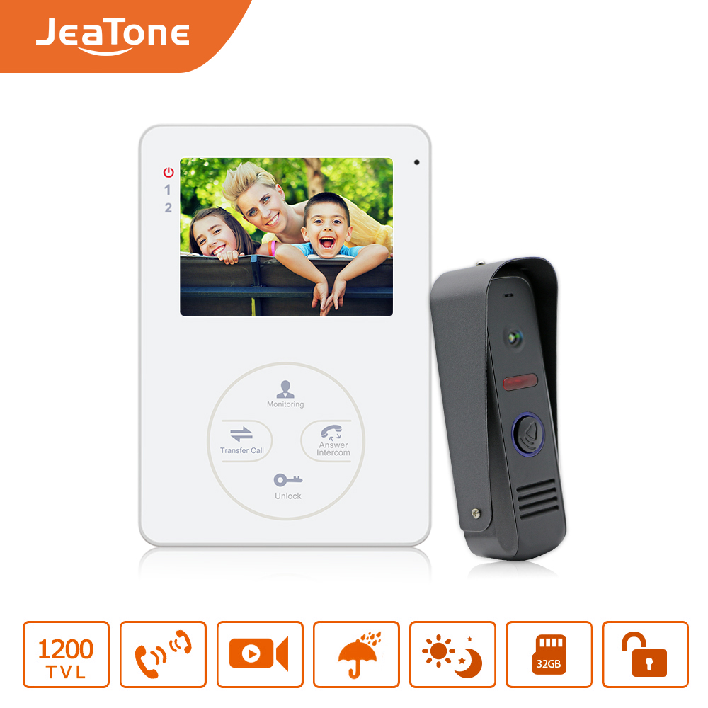 """Jeatone 4"""" 1200TVL HD Audio Door Phone Wired Video Home Intercom System Security Can Link CCD Camera Release Unlock"""