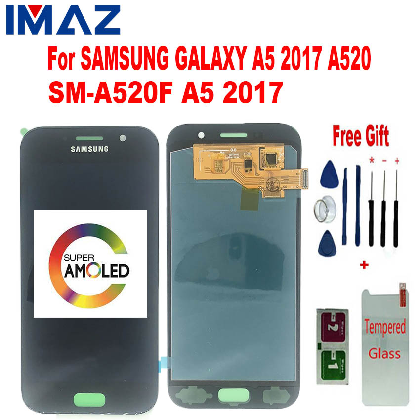 IMAZ Super <font><b>AMOLED</b></font> For <font><b>Samsung</b></font> Galaxy A5 2017 A520 LCD Display Touch Screen Digitizer Replacement parts For <font><b>A520F</b></font> SM-<font><b>A520F</b></font> LCD image