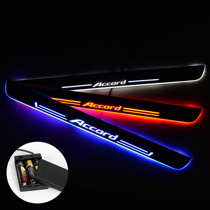 LED Door Sill For <font><b>Honda</b></font> <font><b>Accord</b></font> 2016 - 2018 Streamed Light Scuff Plate Acrylic <font><b>Battery</b></font> <font><b>Car</b></font> Door Sill Accessories image