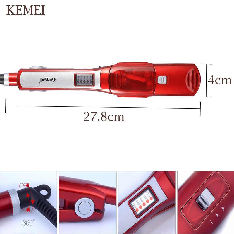KEMEI חשמלי קיטור מחליק שיער קיטור מסרק מיישר שיער ישר שיער מברשת טמפרטורת תצוגת סטיילינג כלי 5