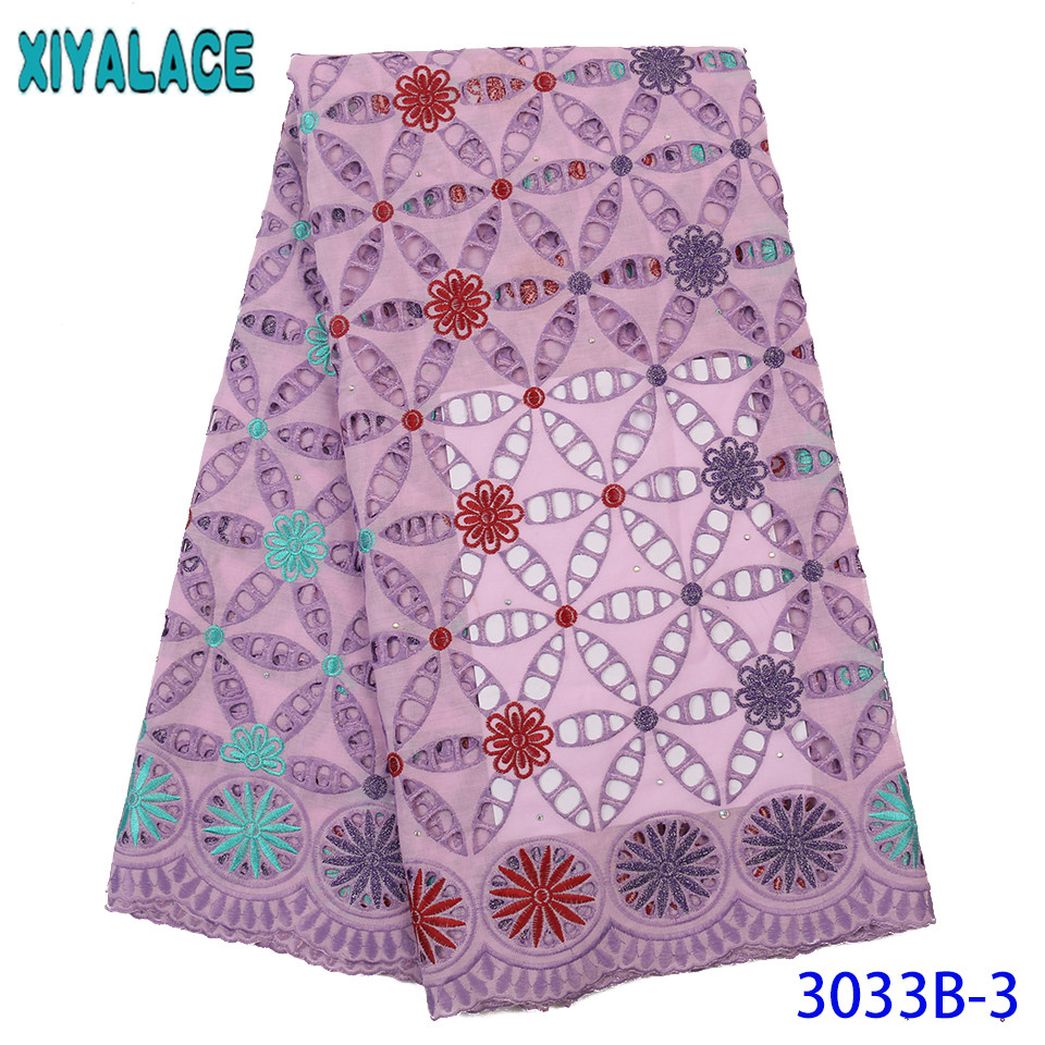 Africa Lace High Quality Lace Fabric New Dry Lace Fabrics Hot Sale Cotton Lace Fabric With Stones Hollow Out Cord Lace KS3033B