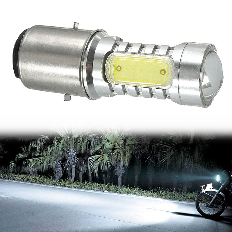 Vehemo BA20D H16 4COB Front Lamp Headlight Motorcycle Parts LED Light High Low Beam Replacement Super Bright Motorbike