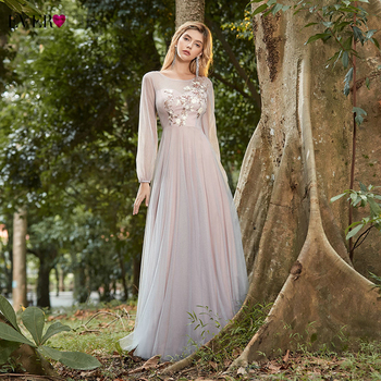 Elegant Pink Prom Long Dresses Ever Pretty A-Line Appliques Sequined O-Neck Long Sleeve Tulle Formal Party Gowns Vestido Longo 1