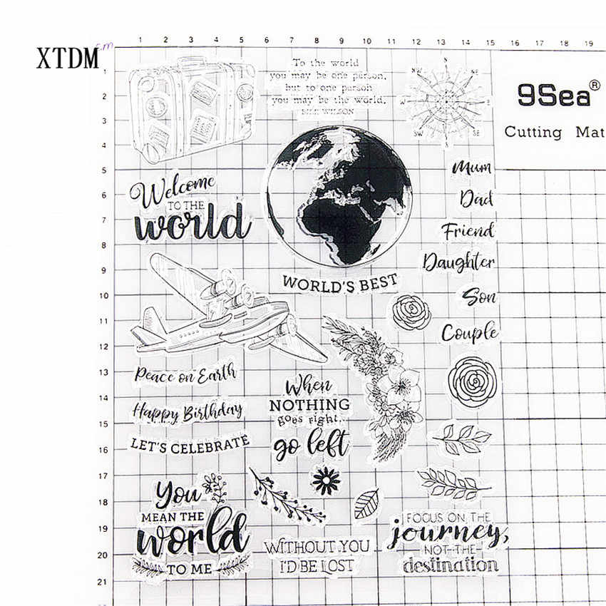 Hot Sale Perjalanan Dunia Transparan Bening Perangko/Silikon Segel Roller Stamp untuk Diy Scrapbooking Foto Album/Pembuatan Kartu