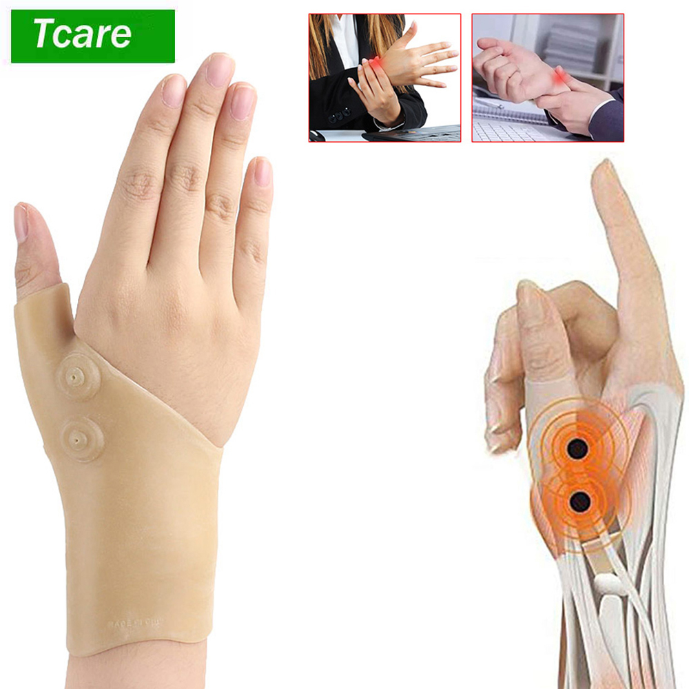 1Pcs Magnetic Therapy Wrist Hand Thumb Support Gloves Silicone Gel Arthritis Pressure Corrector Massage Pain Relief Gloves