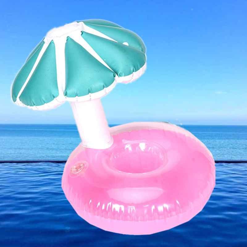 Posavasos inflable seta asiento pequeño paraguas taza titular leche té flotante niños agua playa juguetes AXYA
