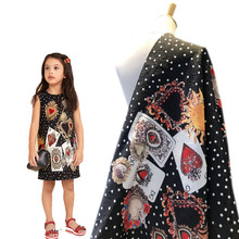 New childrens clothing embossed digital printing jacquard playing card pattern fabric high-grade