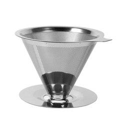 Filtr do kawy wielokrotnego użytku uchwyt ze stali nierdzewnej siatka metalowa lejek kosze Drif filtry do kawy kroplówki V60 filtr do przelewowego zaparzania kawy kubek w Filtry do kawy od Dom i ogród na
