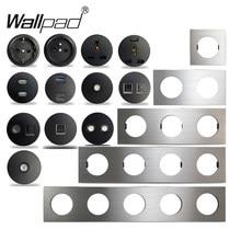 Wallpad L6 argent brossé aluminium noir ue prise de courant française chargeur USB RJ45 CAT6 HDMI Modules Audio bricolage combinaison gratuite