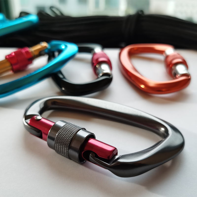 4pcs Professional Climbing Carabiners 25KN D Shape Climbing Buckle Lock Safety Lock Outdoor Climbing Equipment Accessories