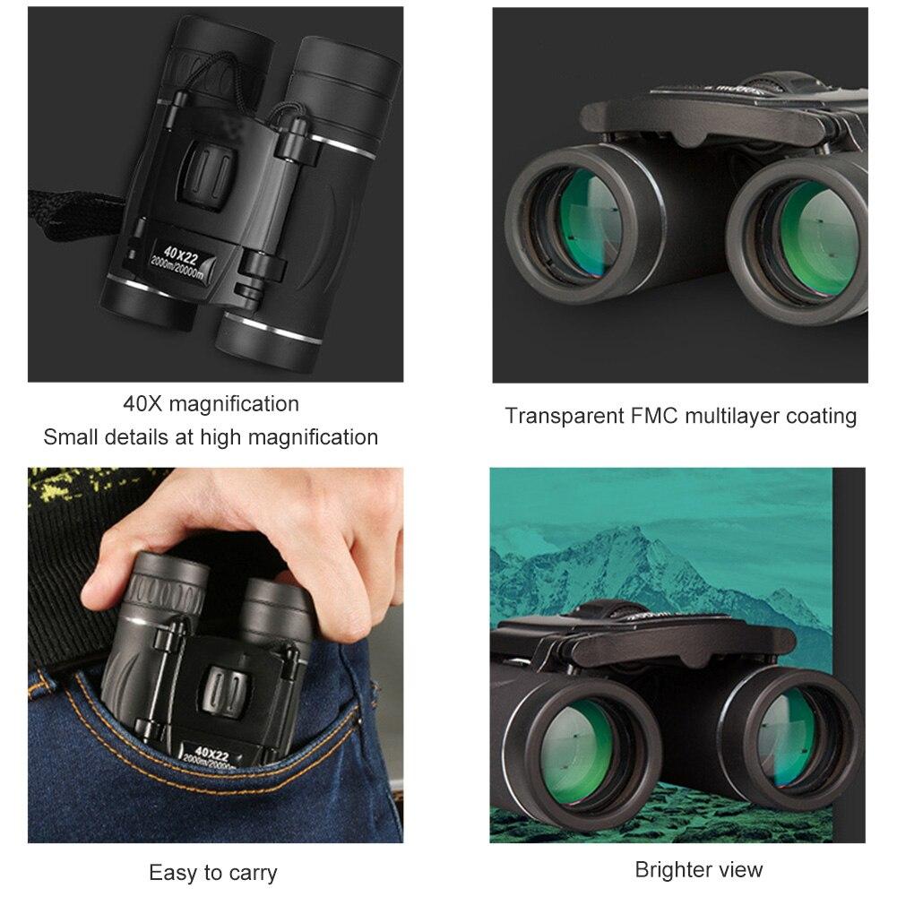 40X22 бинокль телескоп слабый свет ночное зрение открытый портативный бинокль высокая мощность HD телескоп для охоты профессионала