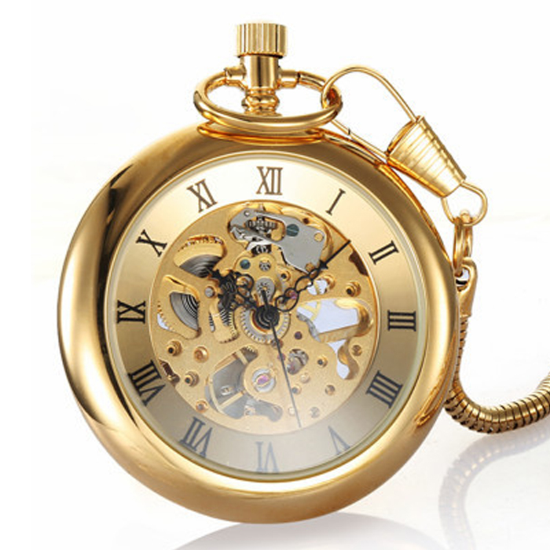 Luxury Gold Skeleton Mechanical Pocket Watch Roman Numerals Antique Hand Winding FOB Chain Men Women Golden Chain Watches Gifts