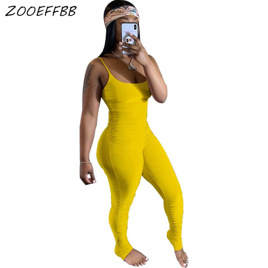 ZOOEFFBB Sexy Rompers Womens Jumpsuit Summer Clothes One Piece Club Outfits Ruched Stacked Pant Bodycon Backless Overalls Onezie