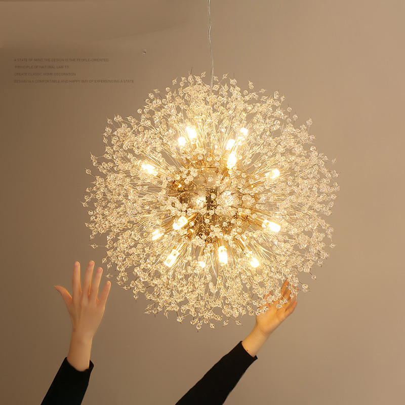 Art Crystal Pendant Lights Spark Ball Gold/Silver Body Dandelion Dinning Living Room Bar Personality Lamp
