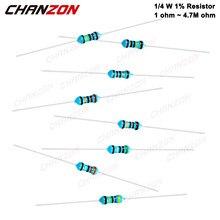 100 resistores 1ohm do filme do metal dos pces 1/4 w 1%-4.7m ohm 1/4 watts 0.25 w mf da elevada precisão resistência fixa 100 220 330 1k 10k 300k