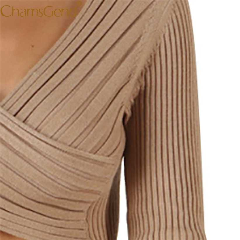 Sexy Lady V Neck Knit Sweater Crop Top Fashion Skinny Women Halter Long Sleeve Cropped Sweaters Solid Blouse 9923