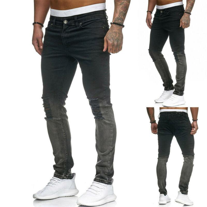 Gothic Modis Men Ripped Jeans Pants Skinny Distressed Slim Fit Biker Casual Denim Trouser Male Black Pencil Jean Ripped Pants
