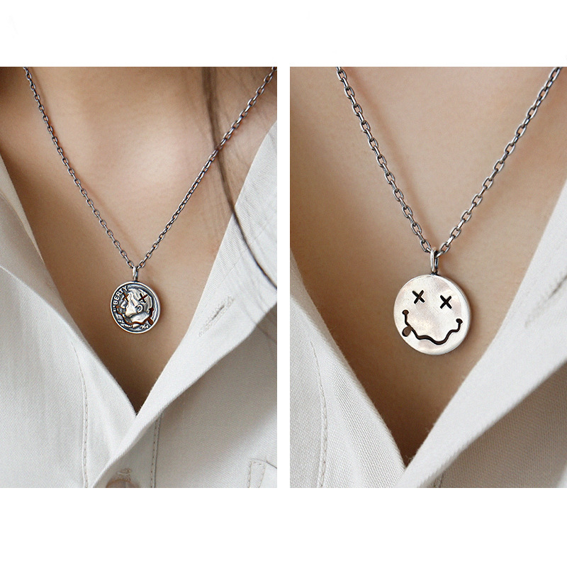 H9e42731593ef4de3b1bdd960e4bbf946e - F.I.N.S Retro Old Portrait Smile Face S925 Sterling Silver Necklace Double Side Coin Tag Necklace Pendant Vintage Chain Ornament