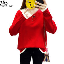 UHYTGF Winter Knitted Women Plus size Sweaters And V-Neck Long Sleeve Pullover Sweet Sueter Mujer Tops Casual Korean Jumper X615(China)