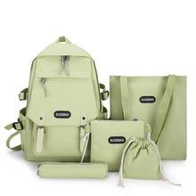 5 шт комплект 2020 kawaii холст студент школа рюкзак сумки для подростков девочек +% 2CЖенские милые плечо сумка путешествия рюкзак +4шт.