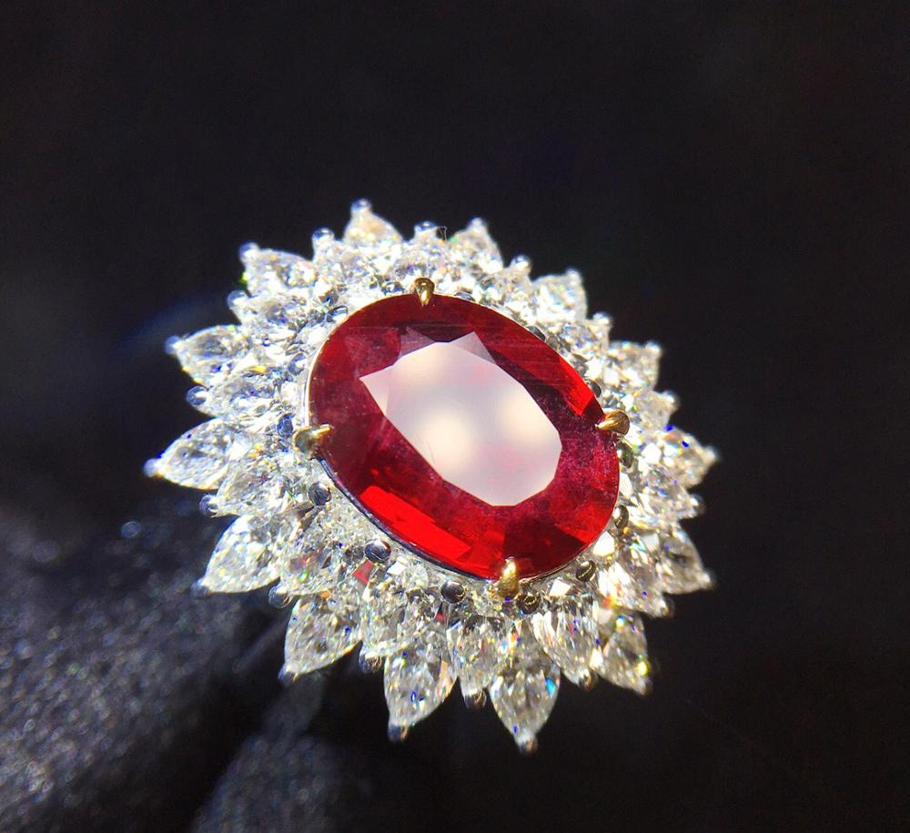 Ruby Ring Pure 18K Gold Jewelry Real Natural 3.01ct Red ...