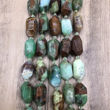 Rough Natural Chrysoprase Cutting Nugget Stone Pendant Beads,Green Australian Jades Faceted Charm Space Beads My210485