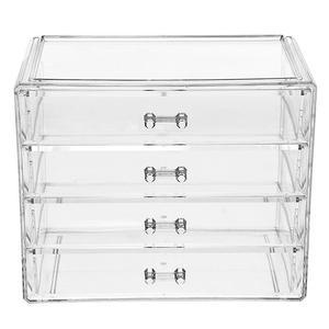 1 cajón organizador de maquillaje de 4 capas caja de almacenamiento de acrílico para cosméticos recipiente para joyas organizador de cepillo de maquillaje y estuche organizador
