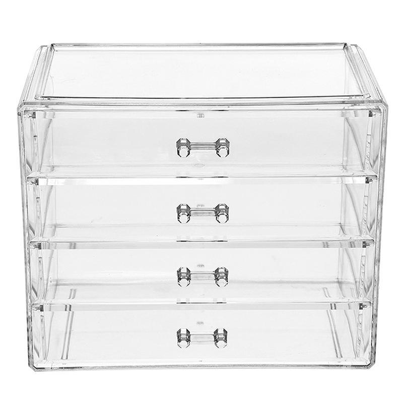 1 pc 4 camadas organizador de maquiagem gavetas acrílico caixa de armazenamento de cosméticos recipiente de jóias compõem caso maquiagem escova titular organizadores