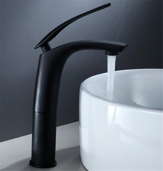 Bathroom Basin Faucet Black Baking Solid Brass Unique Design Sink Mixer Tap Hot & Cold Waterfall Basin Faucet Free Shipping 7