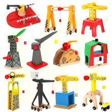 All Kinds of Crane Tender Wooden Magnetic Train Track Railway Accessories Compatible Biro All Brands Wood Track Educational Toys