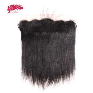 Прямые человеческие волосы кружева лобовое Закрытие 13x4 с предварительно сорванными Детские Волосы бесплатная часть швейцарские прозрачны...