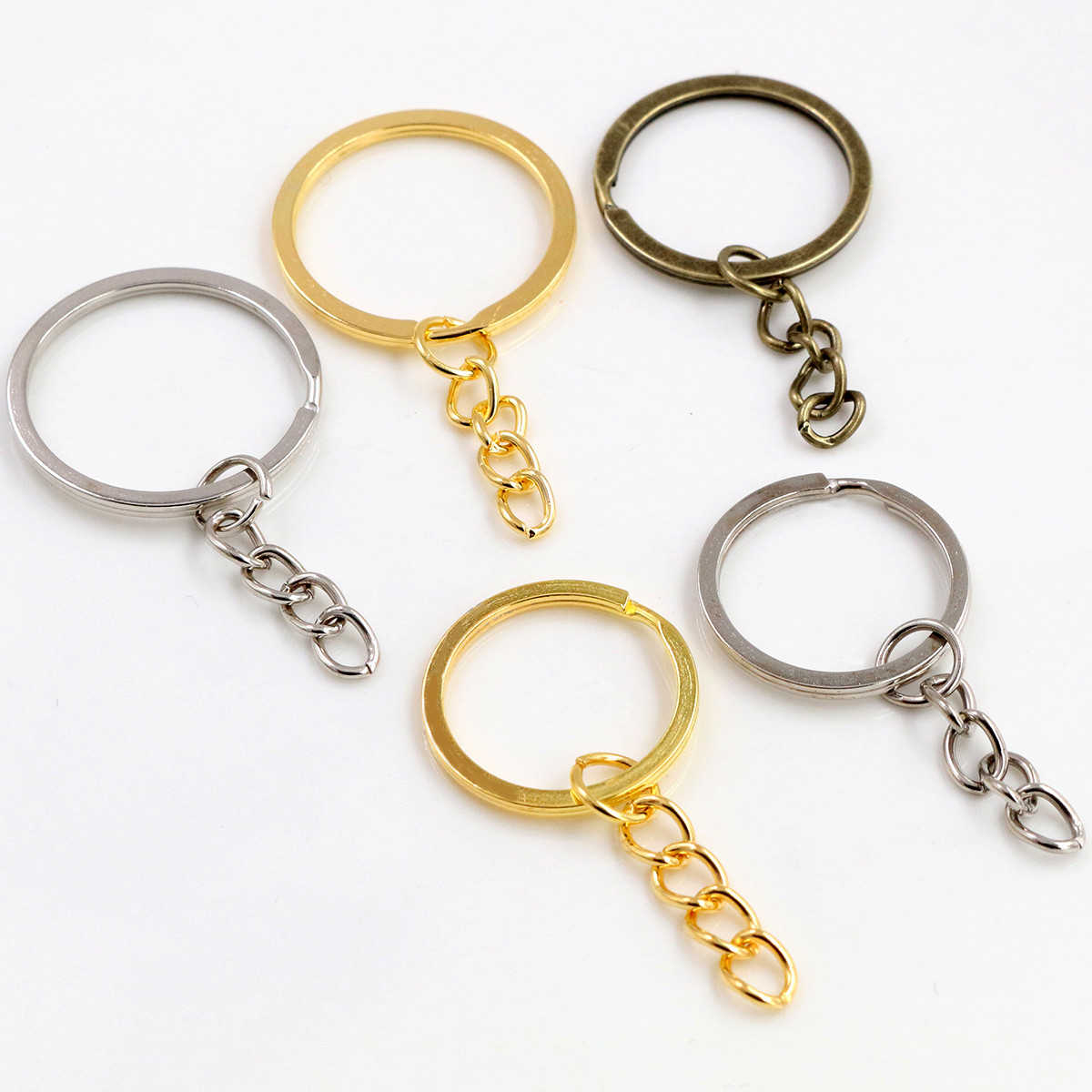 20 pcs/lot Key Ring Key Chain 3 Colors Plated 50mm Long Round Split Keychain Keyrings Wholesale