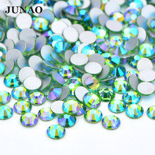 JUNAO SS16 SS20 SS30 Блестящий светильник зеленые AB стеклянные кристаллы, стразы кристаллы для ногтей камни плоские с оборота Стразы бусины для обуви