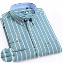 Мужские рубашки с длинным рукавом, Классическая мужская клетчатая рубашка, рубашки в полоску, Мужская одежда, Оксфорд, Camisa Social 5XL 6XL, большие размеры, уличная одежда