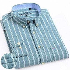Image 1 - גברים חולצה ארוך שרוול רגיל Fit גברים חולצה משובצת פסים חולצות גברים שמלת אוקספורד Camisa חברתי 5XL 6XL גדול גדלים streetwear