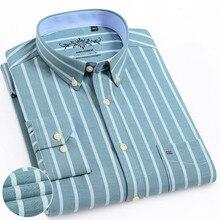 Koszula męska z długim rękawem regularny krój mężczyźni koszula w kratę koszule w paski mężczyźni sukienka Oxford Camisa społecznej 5XL 6XL duże rozmiary Streetwear