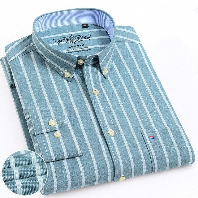 Mannen Shirt Lange Mouw Regular Fit Mannen Plaid Shirt Gestreepte Shirts Mannen Jurk Oxford Camisa Sociale 5XL 6XL Grote Maten streetwear