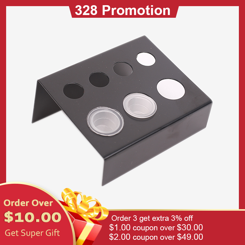 7 Holes Stainless Steel Pigment Cup Rack Tattoo Ink Cup Holder Stand For Permanent Makeup Microblading Tattoo Accessories